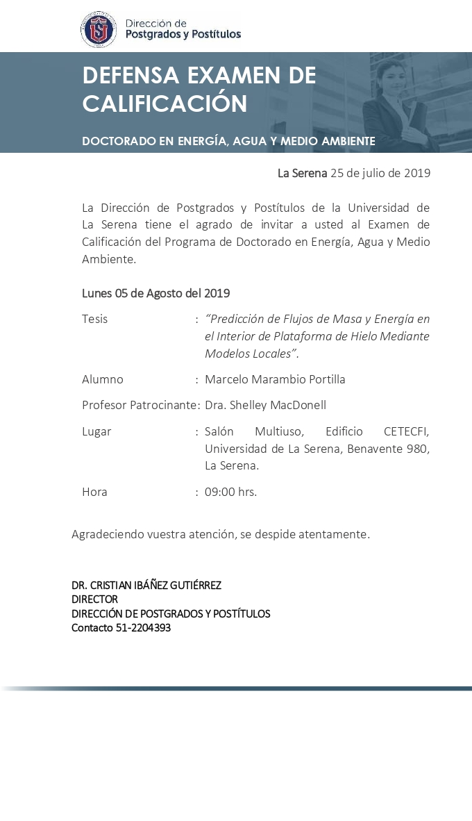 Defense of Qualification Exam doct Energìa Agua and MA Marcelo Marambio